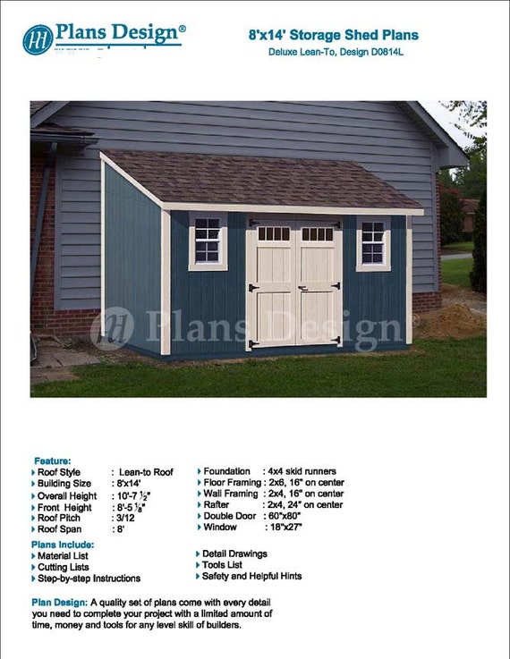 8u0027 X 14u0027 Garden Storage Lean To Shed Plans / | Etsy