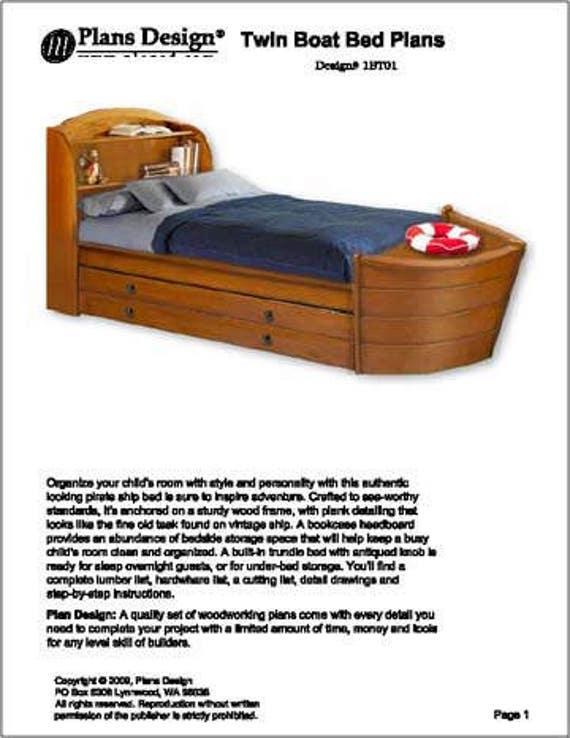 Children\'s Twin Boat Bed with Trundle Woodworking Plans, Do It Yourself,  Detail Drawings and Step-by- Step Instructions Included