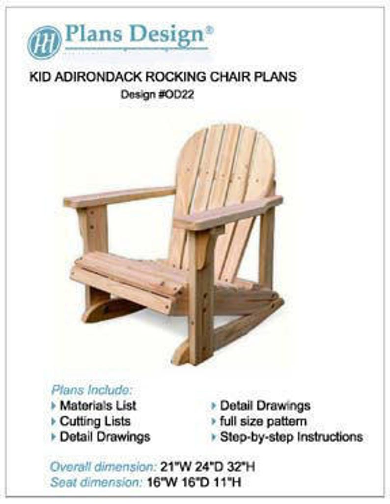 Terrific Kid Adirondack Rocking Chair With Pattern Trace And Cut Woodworking Furniture Plans Step By Step Instructions Included Design Odf22 Machost Co Dining Chair Design Ideas Machostcouk