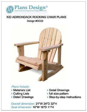 Kid Adirondack Rocking Chair With Pattern Trace And Cut Etsy