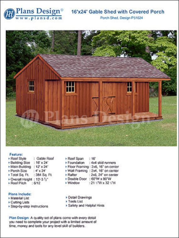 16 X 24 Shed With Porch Guest House Cottage Or Cabin Building Plans Material List Included P51624