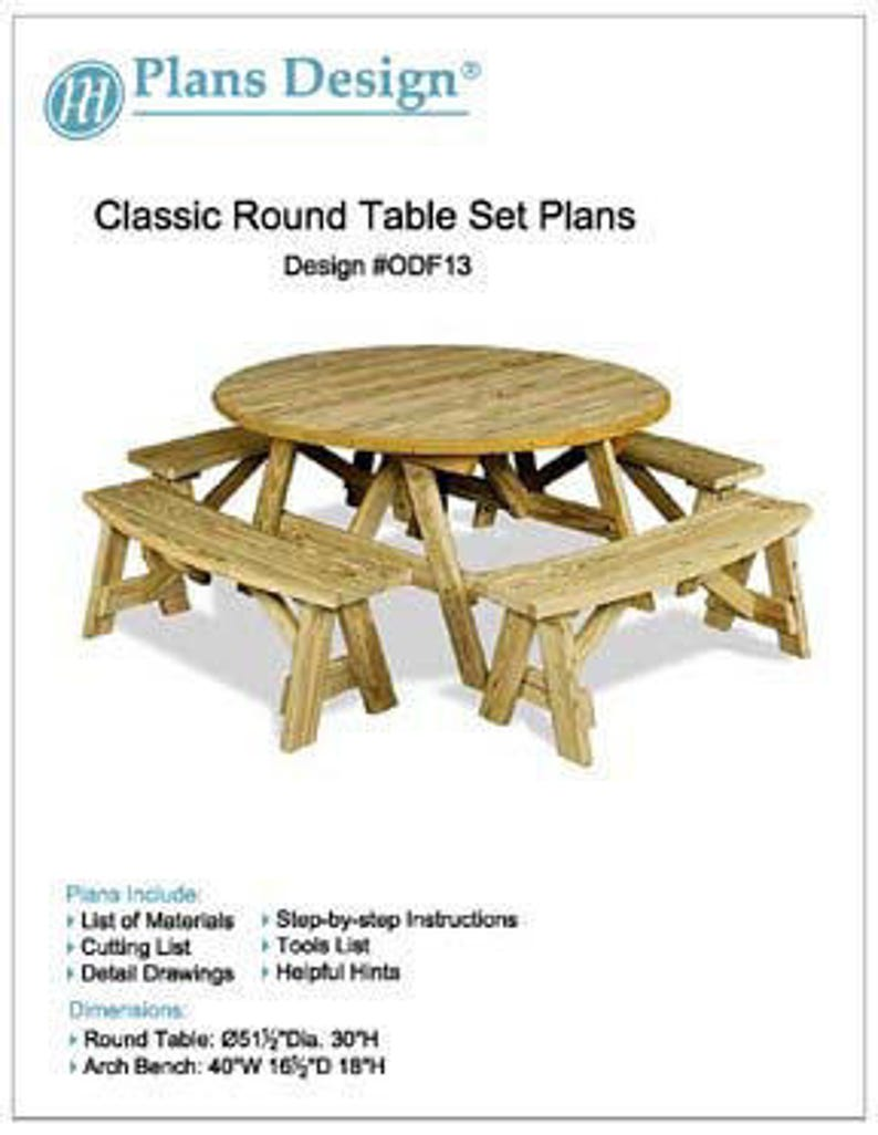 Miraculous Classic Back Yard Garden Round Picnic Table Set Furniture Plans Material List And Step By Step Instructions Included Design Odf13 Gmtry Best Dining Table And Chair Ideas Images Gmtryco