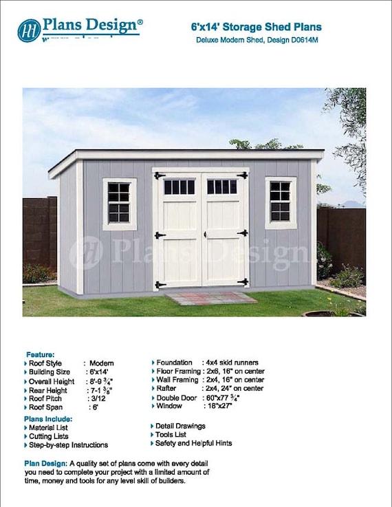 6u0027 X 14u0027 Garden Storage Modern Roof Style Shed Plans | Etsy