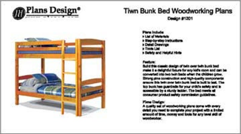Twin Over Twin Bunk Bed Woodworking Plans Instructions Design 1201 Detail Drawings And Step By Step Instructions Included