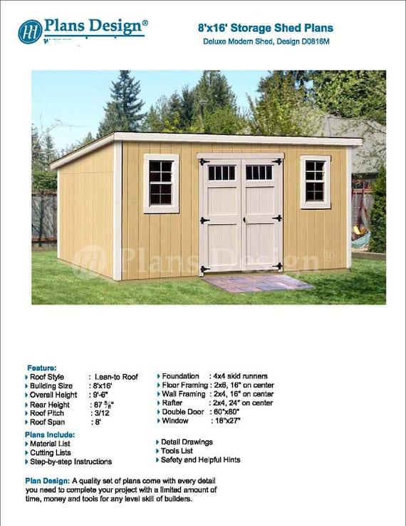 8u0027 X 16u0027 Garden Storage Modern Roof Style Shed Plans | Etsy