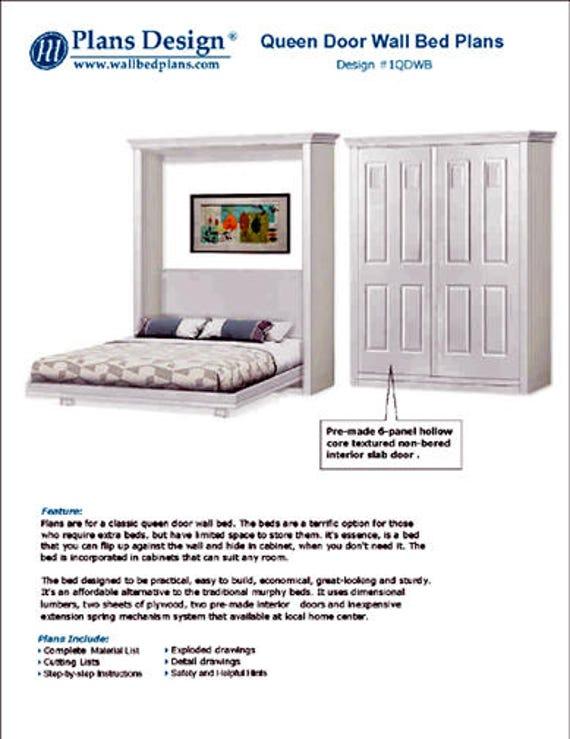 Classic 4-panel door queen hiden wall bed design Murphy | Etsy