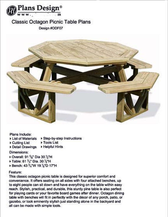 Classic Garden Large Octagon Picnic Table Benches Outdoor Etsy - Large outdoor picnic table