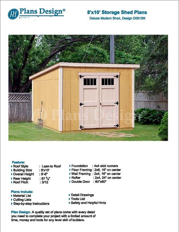 8 X 10 Garden Storage Modern Roof Style Shed Plans Blueprints Material List And Step By Step Instructions Included D0810m