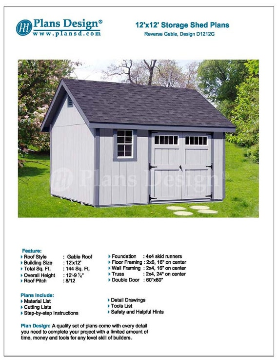 12 X 12 Backyard Garden Gable Shed Plans Etsy
