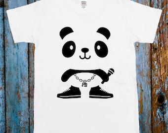 f67ea86a6 RAP PANDA Gangster Cute Tee Celeb T-shirt Top Black White Blogger Cartoon  Funny Tee Top Gift