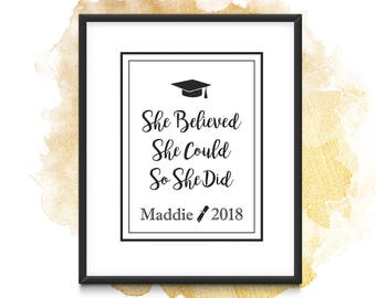 PERSONALIZED | Class of 2018 | Congrats Grad | Nursing Graduate Gift | High School Graduation Gift | Printable | Gift for Daughter | For Her
