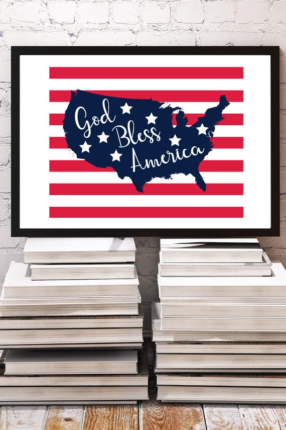 Independence Day Printable Red White And Blue Party Flags Etsy