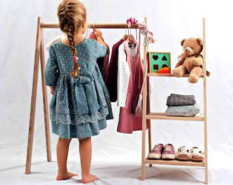 KIDS clothing rack, Dress up storage length variations, Toddler fashion, Montessori wardrobe small, Left and right options