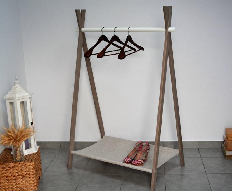 volwassen rack met doek kleding rek houten rek boho kamer | etsy