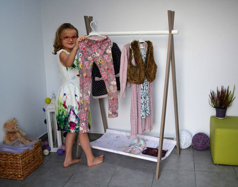 Kids Clothing Rack Wooden Rack Clothes Rack With Canvas Childrens Room Dress Up Storage Rack Fold Up A Frame Rack Modern Clothing Rack