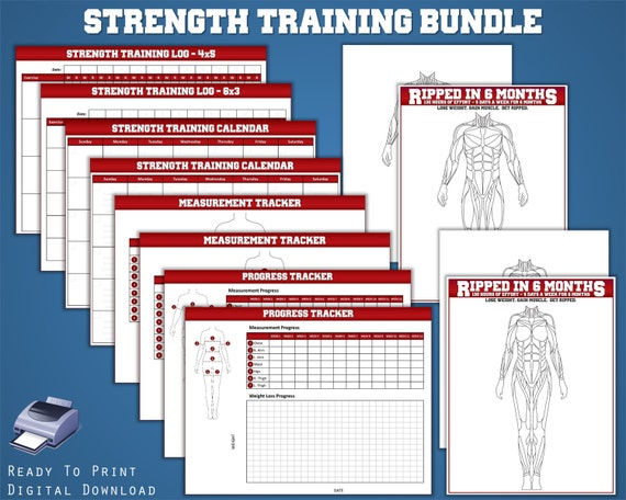strength training bundle 12 in 1 fitness planner workout etsy