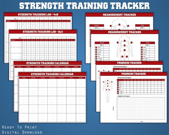 strength training log fitness planner workout log weight etsy