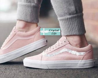 Custom Crystal Bling Rhinestone Pink Vans 0f54a959c166