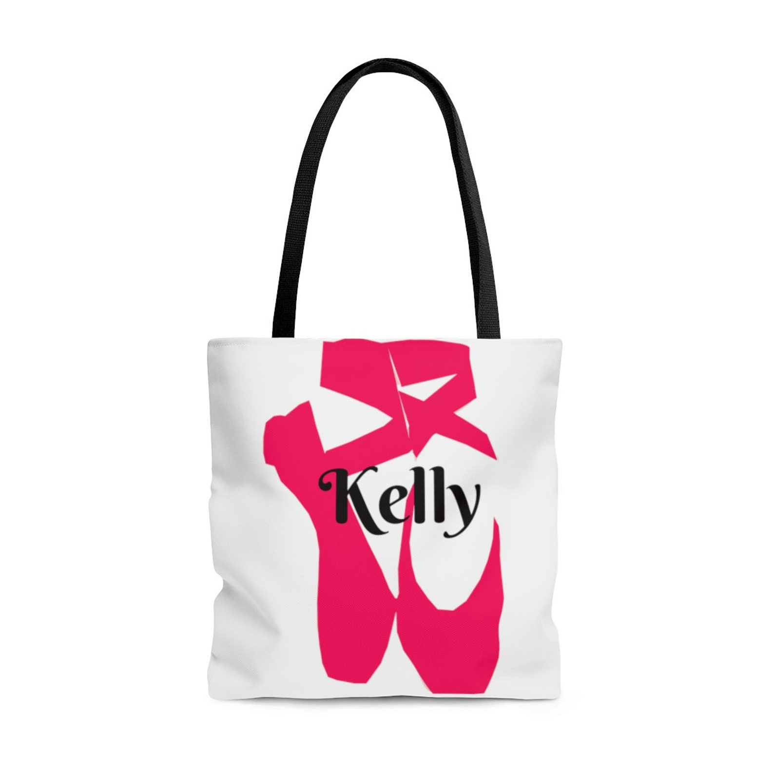 custom personalized dance fuchsia hot pink ballet shoes name tote bag