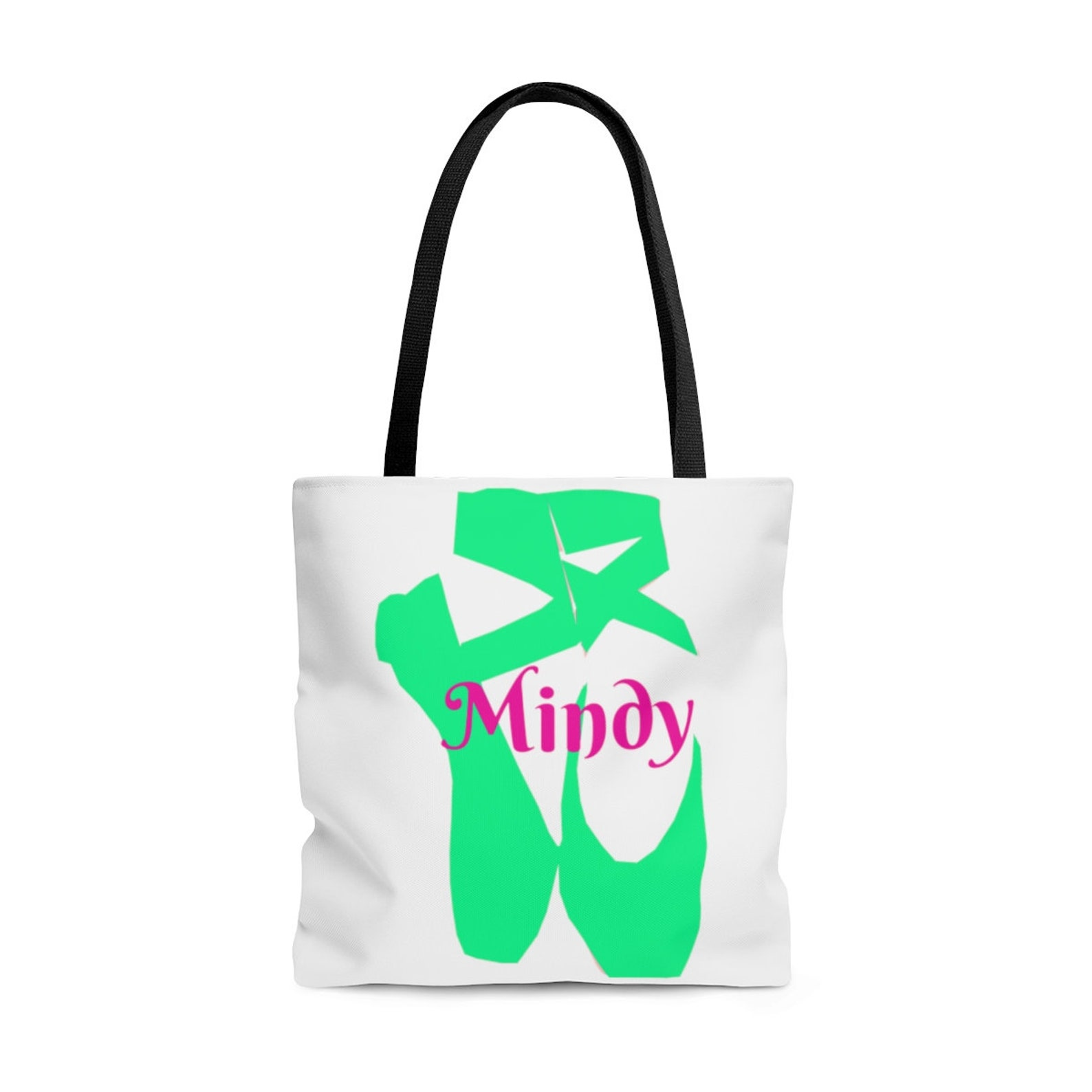 custom personalized dance minty tiffany ballet shoes name tote bag