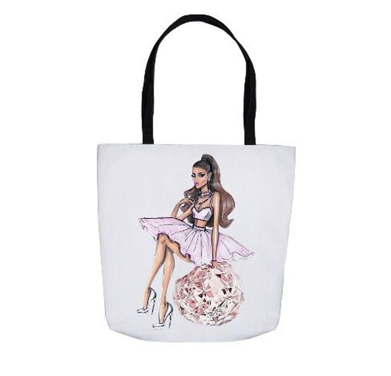 bfe1bb738cc3 Custom Tote Bag Ariana Grande Diamonds Fashion Dress | Etsy