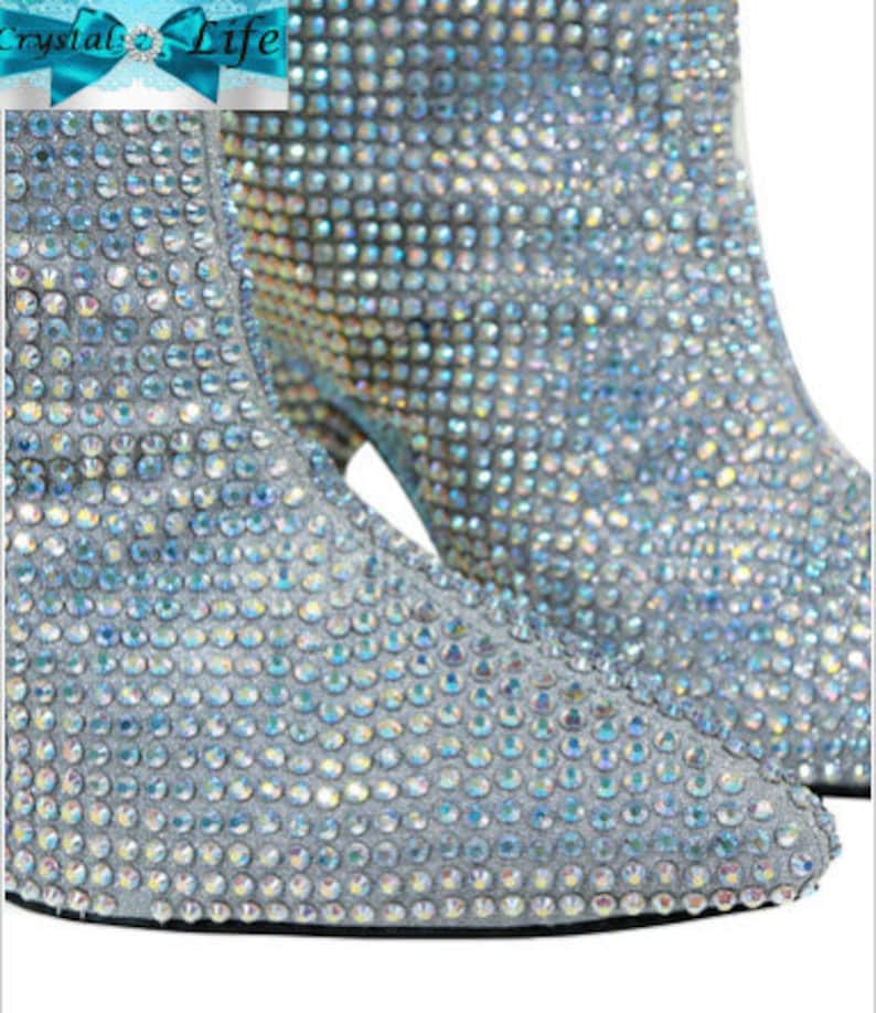 sold worldwide fantastic savings cost charm Wide Calf Boots Glitter Boots Silver Pointed Toe AB | Etsy