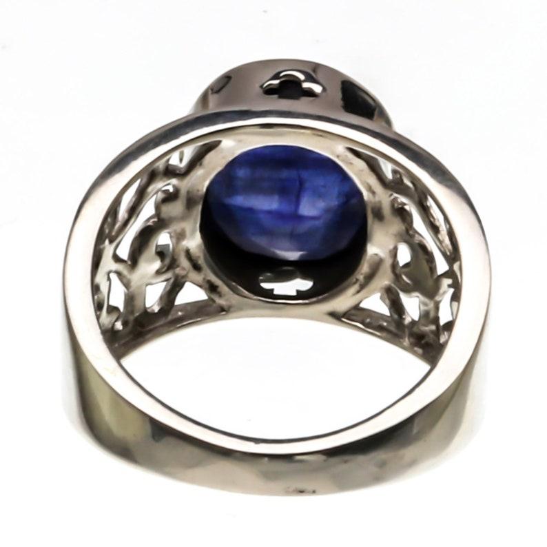 Blue Diamond Ring Blue Vintage Ring Solid Silver Ring Sapphire Ring Promise Ring Blue Sapphire Ring Created Sapphire Solitaire Ring