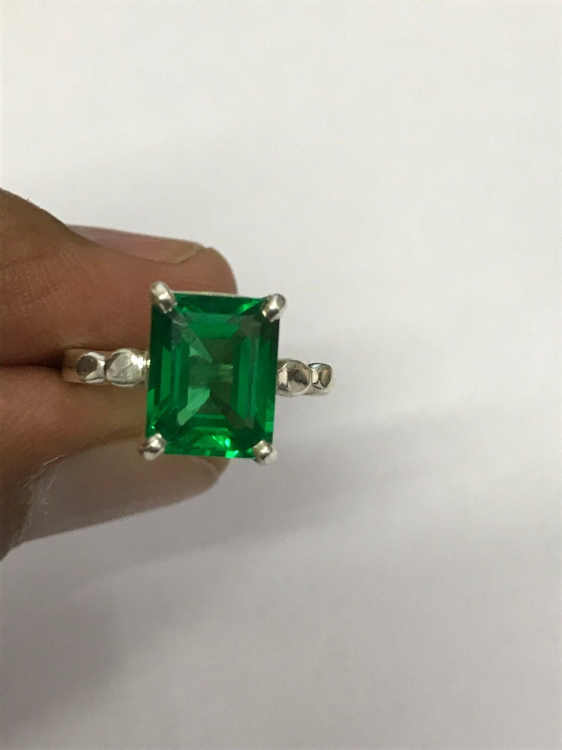 Natural certified 6.25 Carat 925 Sterling Silver Handmade EmeraldPanna Ring For Men And Women