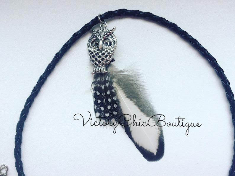 Choker Choker necklace Boho chokers Owl charm choker Guinea fowl feather choker 90s chokers Black cord choker Feather chokers Silver plated