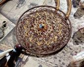 Native American dreamcatcher pendant, feathers necklace, macrame dream catcher pendant
