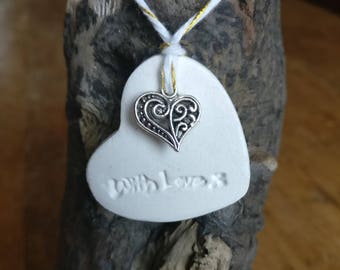 10 Clay heart tags wedding favours wedding decor gift tags with silver heart.