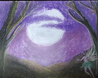 Original Artwork/ Pastel Artwork  'Fairy and the Moon' Original pastel painting.