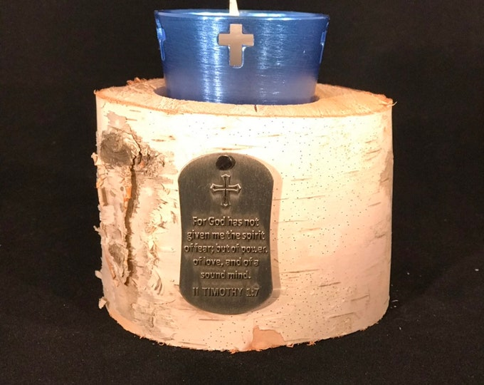White birch with II Timothy 1:7 medal votive candle