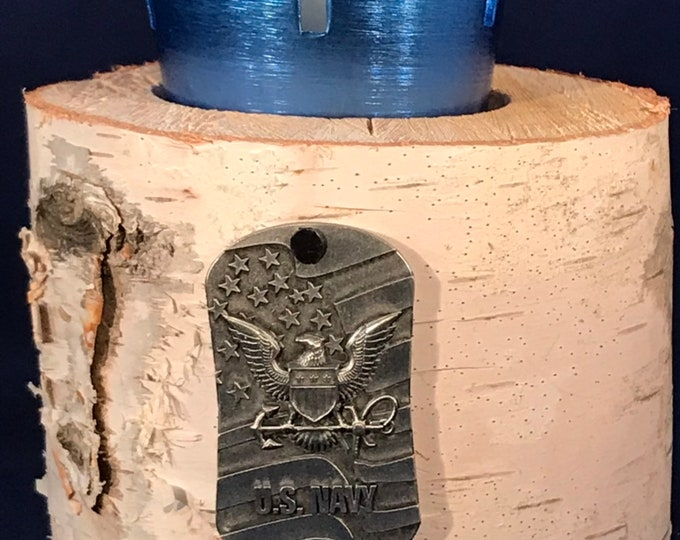 Navy medal with blue votive cross and white birch log holder