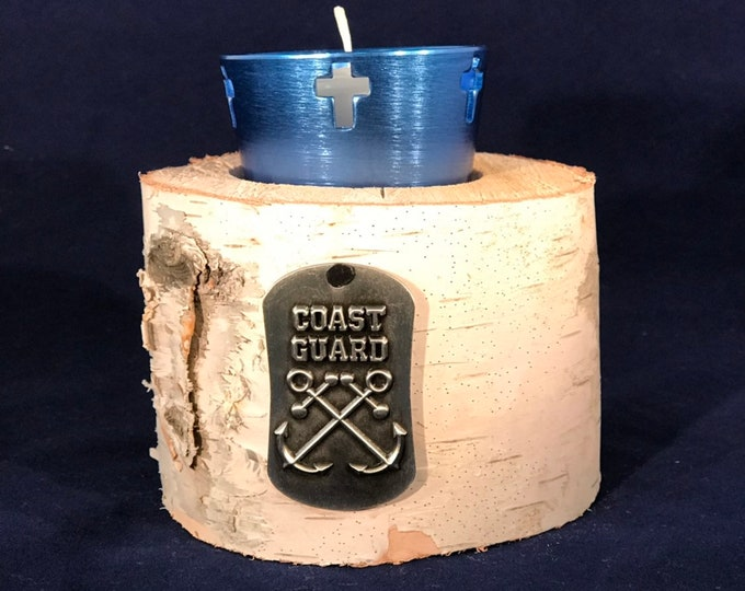 Coast Guard cross votive holder on white birch