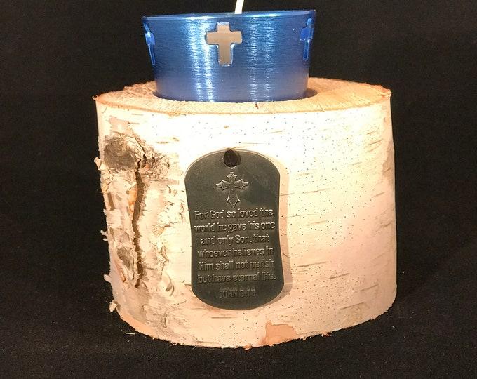 John 3:16, birch cross votive candle holder