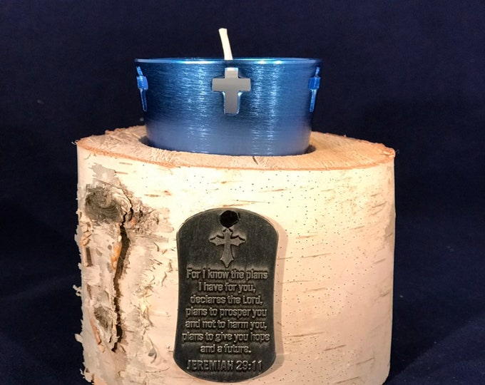 """White birch cross votive holder with Jeremiah 29:11, """"For I know the plans I have for you..."""""""