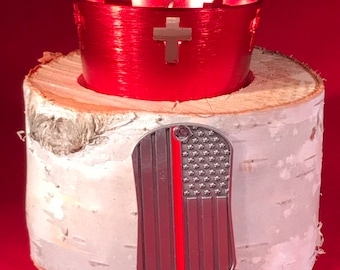 Firefighters Thin Red Line Flag With Candle Votive Cross And Birch Holder
