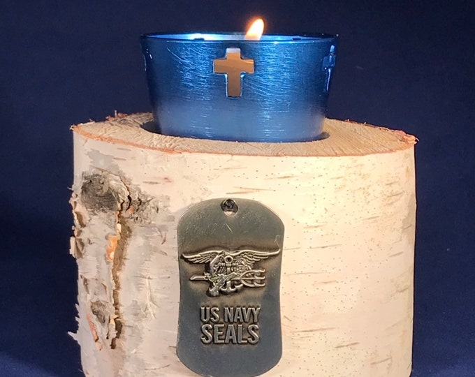 Navy Seals Medal plus a Votive Candle with Cross and White Birch Holder