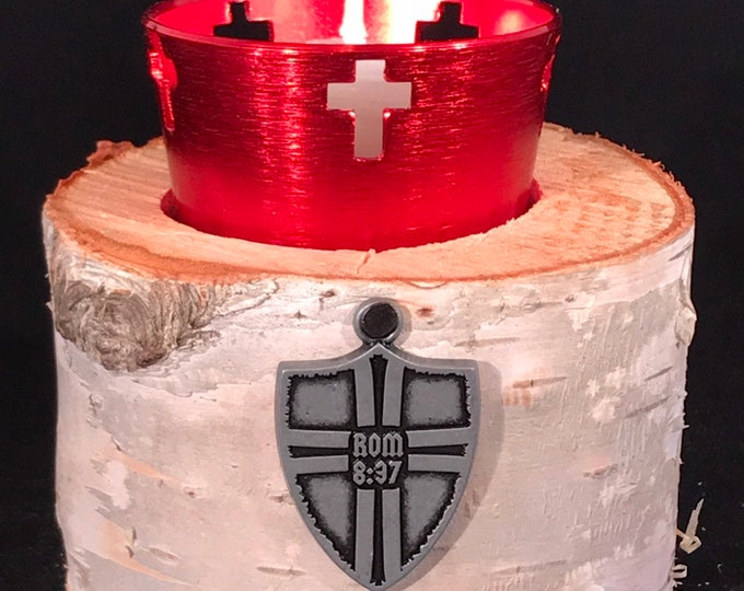 Roman shield with Romans 8:37 white birch candle holder and voltive