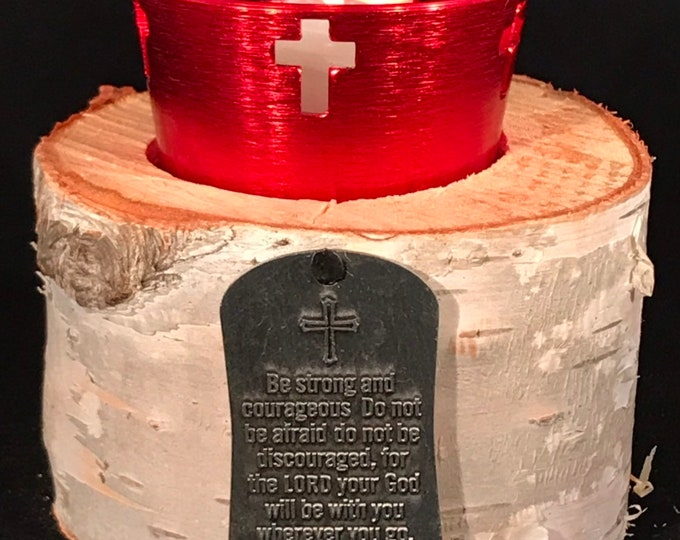 Joshua 1:9 votive and medal with white birch and anodized cross holder