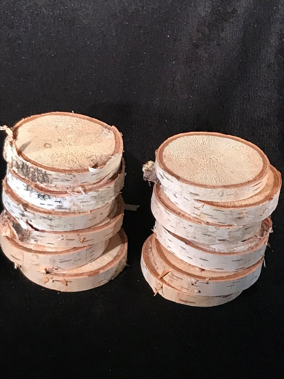 White Birch slices, 12 count, approximately 2 1/2 inches diameter and about 1/2 inch thick