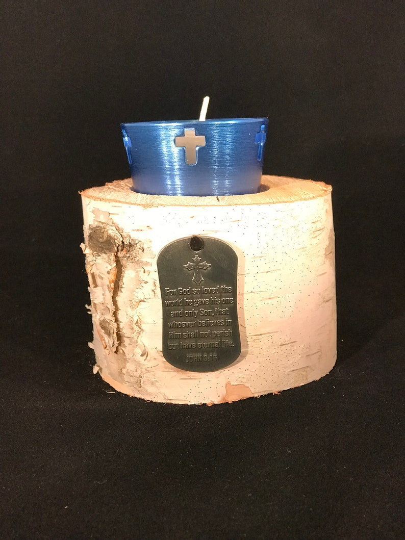 birch cross votive candle holder John 3:16