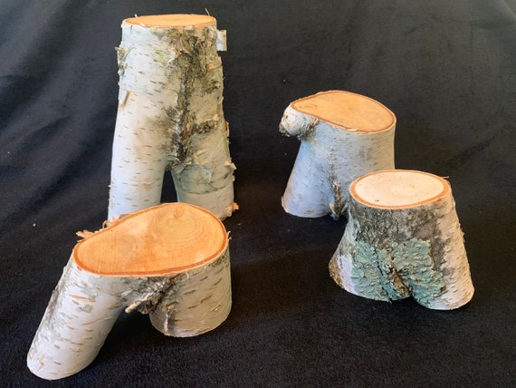 White birch logs, four count, sizes vary from 6 inches high to about 3 inches