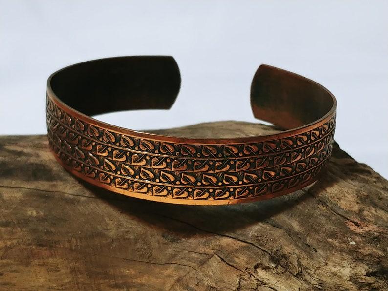 12 inch Wide Steampunk Copper Bracelet Unique Etched Design Brutalist Boho Vintage Signed Genuine Copper Cuff Bracelet