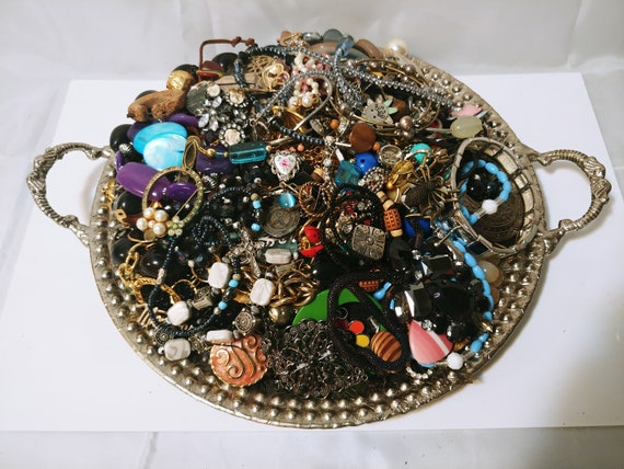 Crafting Harvesting Mixed Jewelry Lot - Lot of Jewelry - Scrap Jewelry - Jewelry Making LOT # 0048 - No Mardi Gras Beads