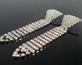 """Vintage Jewelry Rhinestone Chandelier Dangle Earrings 3 3/4"""" Shoulder Dusters Bling Earrings - Necktie Design Earrings - Wedding Bridesmaid"""