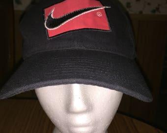ce1ee732e05 Nike 90 s Just Do It Hat Cap 1990 s Vintage VTG Black Snapback Adjustable  Baseball S5-08-11-WDI