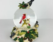 Lenox For The Holidays Winter Greetings Musical Snow Globe Cardinal Holly 1998 Original Box