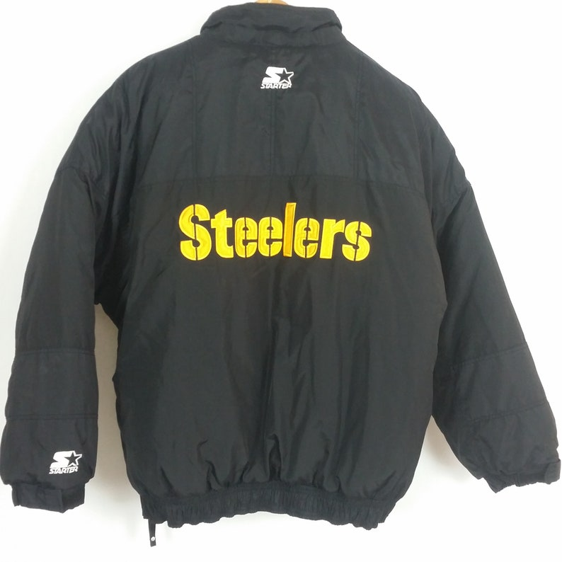 online store bb5ad 79973 Mens Vintage XL Starter Pittsburgh Steelers Pullover Puffer Jacket Black  Gold XL